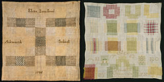 (Left); Sampler, Eliza Broadhead, 1785, England. Museum no. T.731-1997. © Victoria and Albert Museum, London. Bequeathed by Alison Brown. (Right): Sampler, Gerarda Gerritson, 1763, Netherlands. Museum no. T.186-1921. © Victoria and Albert Museum, London. Given by Mrs Grove