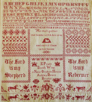 Sampler, E. Pratt, 1886, England. Museum no. B.547-2016. © Victoria and Albert Museum, London. Given in memory of Valerie Orr