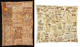 (Left): Sampler, unknown maker, 19th century, Morocco. Museum no. T.35-1933. © Victoria and Albert Museum, London. Given by G. D. Pratt. (Right): Sampler, unknown maker, 19th century, Turkey. Museum no. T.328-1921. © Victoria and Albert Museum, London. Given by G. D. Hornblower, Esq.