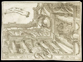 Design for a stage set showing angle of a room seen from below, Ferdinando Galli da Bibiena, 1700 – 35, Turin, Italy. Museum no. 29781:3.  © Victoria and Albert Museum, London