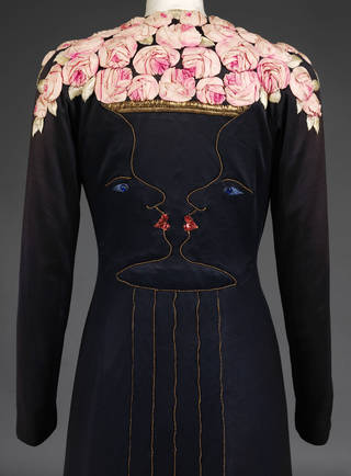 Photo of Evening coat, detail, designed by Elsa Schiaparelli and Jean Cocteau, 1937, UK. Museum no. T.59-2005. © Victoria and Albert Museum, London