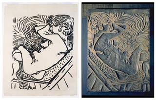(Left) Nu de profil sur une chaise longue (Le Grand Bois), woodcut on laid van Gelder paper, Henri Matisse, 1906. Museum no. E.276-1994. © Victoria and Albert Museum, London/Matisse Foundation. (Right) Woodblock for Nu de profil sur une chaise longue (Le Grand Bois), incised fruit-wood, Henri Matisse, 1906. Museum no. E.609-1975. © Victoria and Albert Museum, London/Matisse Foundation