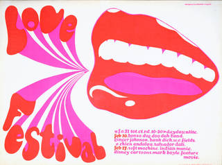 Photo of Screenprint poster advertising bands performing at the UFO Club, London, Michael English, 1967, UK. Museum no. E.38-1968. © Victoria and Albert Museum, London