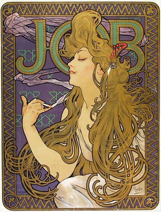 Photo of Lithograph poster for Job rolling papers, Alphonse Mucha, 1898, France. Museum no. E.260-1921. © Victoria and Albert Museum, London
