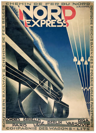 Photo of Lithograph poster advertising the Nord Express train from Paris to Riga, Adolphe Mouron Cassandre, 1927, France. Museum no. E.223-1935. © Victoria and Albert Museum, London