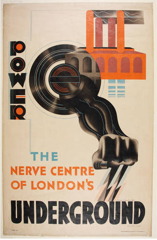 Photo of Lithograph poster for the Underground Electric Railways Co. of London, Ltd., Edward McKnight Kauffer, 1930, UK. Museum no. E.3338-1932. © Victoria and Albert Museum, London