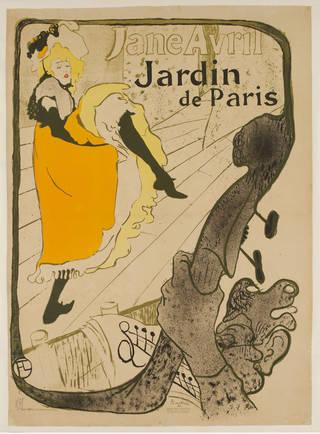Photo of Jane Avril au Jardin de Paris, lithograph poster, Henri de Toulouse-Lautrec, 1893, France. Museum no. E.705-2000. © Victoria and Albert Museum, London