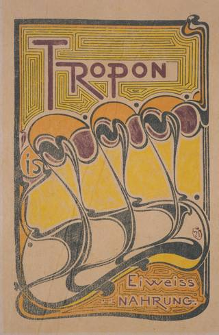 Photo of Lithograph poster for Tropon powdered eggs, Henry van de Velde, 1898, Belgium. Museum no. CIRC.992-1967. © Victoria and Albert Museum, London