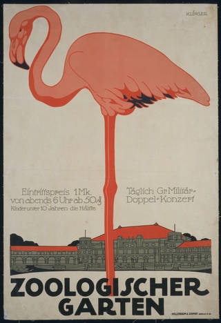 Photo of Lithograph poster for the Berlin Zoologischer Garten, Julius Klinger Germany, 1910, Germany. Museum no. E.614-1915. © Victoria and Albert Museum, London