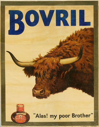"BOVRIL written at top. Brown, horned highland cow crying and looking at a jar of Bovril. Text saying ""Alas! My poor brother"""