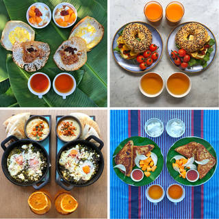 Four photos. Each has two breakfasts laid out in symmetry. Meals include juices, shakshuka, bagels