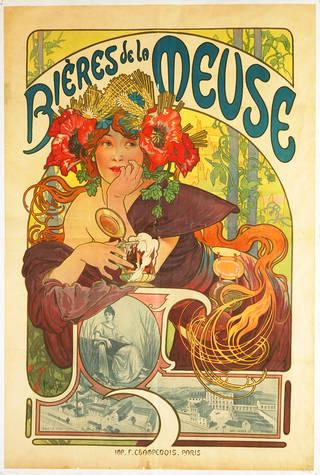 Bières De La Meuse, colour lithograph poster, Alphonse Mucha, 1897, France. Museum no. E.78-1956. © ADAGP, Paris, and DACS, London 1997