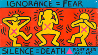 Act Up, colour screenprint poster, Keith Haring, 1989, US. Museum no. E.82-1996. © Victoria and Albert Museum, London