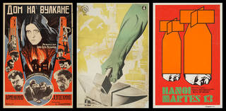 Left to right: House on a Volcano, photolithograph poster, Raphael Ter, 1928, Russia. Museum no. E.615-2014. © Victoria and Albert Museum, London; Spanish Civil War colour lithograph poster, José Bardasano, 1937, Spain. Museum no. E.361-2003. © Victoria and Albert Museum, London; Hanoi Martes 13, screenprint poster, Alfredo Rostgaard, 1967, Cuba. Museum no. E.1975-2004. © Victoria and Albert Museum