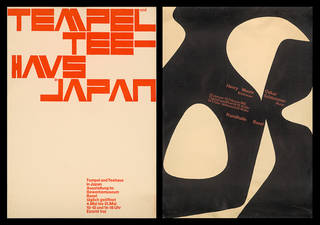 Left to right: Temple und Tee-haus in Japan, screenprint poster, Armin Hofmann, about 1955, Switzerland. Museum no. E.4-2006. © Victoria and Albert Museum, London; Henry Moore and Oskar Schlemmer exhibition, screenprint poster, Armin Hofmann, about 1955, Switzerland. Museum no. E.6-2006. © Victoria and Albert Museum