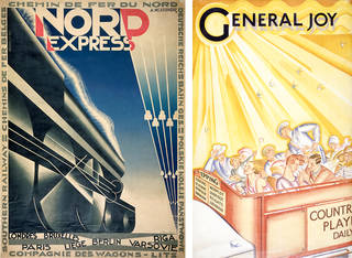 Left to right: Nord Express, colour lithograph poster, Cassandre, 1927, France. Museum no. E.223-1935. © Victoria and Albert Museum, London; General Joy, colour lithograph poster, Vera Willoughby, 1928, UK. Museum no. E.940-1928. © Victoria and Albert Museum, London