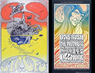 CIA v UFO, colour screenprint poster, Michael English and Nigel Waymouth, 1967, UK. Museum no. E.1713-1991. © Victoria and Albert Museum, London; Otis Rush, colour offset lithograph poster, Wes Wilson, 1967, US. Museum no. E.507-2004. © Victoria and Albert Museum, London