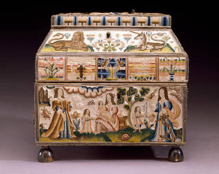 Embroidered casket, Martha Edlin, 1671, England. Museum no. T.432-1990. © Victoria and Albert Museum, London