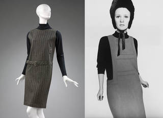 Pinafore dress, Mary Quant for Bazaar, 1960, UK. Museum no. T.71–2018. © Victoria and Albert Museum, London. Celia Hammond in 'Cad' wool pinafore dress and skinny rib sweater, 1963. Photograph by Terence Donovan. Mary Quant Archive