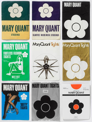 Selection of Mary Quant stockings and tights in original packaging, 1965 – 83. © Victoria and Albert Museum, London