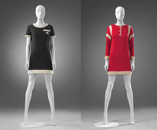 Left to right: Jersey dress with pocket, Mary Quant, 1967, Mary Quant Archive. 'Footer' jersey dress, Mary Quant, 1967, Mary Quant Archive.