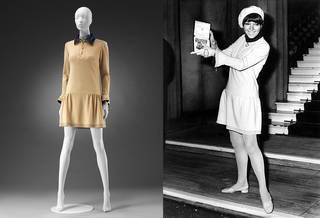 Left to right: Dress worn by Mary Quant when receiving her OBE, Mary Quant, 1966, UK. Museum no. T.354-1974. © Victoria and Albert Museum, London. Photograph © Everett Collection Historical Alamy Stock Photo