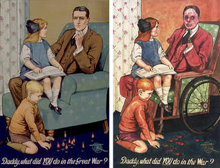 Left to right: Daddy, what did YOU do in the Great War?, colour lithograph poster, Savile Lumley, 1915, England. Museum no. CIRC.466-1969. © Victoria and Albert Museum, London; Great War, pigment inkjet print, Darren Cullen, made with Veterans for Peace, 2018, UK. Museum no. E.13-2019.