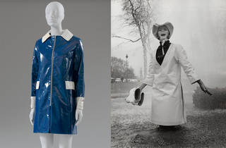 Left to right: PVC Raincoat, Mary Quant for Alligator, 1966 – 67, UK. Museum no. T.95–2018. © Victoria and Albert Museum, London. Worn and given by Beryl Davies. Jill Kennington in white PVC rain tunic and hat by Mary Quant, Photograph by John Cowan for the Sunday Times, 1963, Ernestine Carter Archive, Fashion Museum Bath