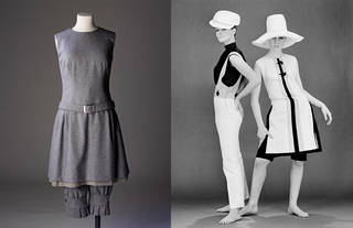 Left to right: Ensemble of dress and knickerbockers, Mary Quant, designed 1958, made 1973, England. Museum no. T.103 to C-1976, given by Mary Quant. 'Plunkets' dungarees, 'Daisy' beach dress with '7 Up' shorts, Mary Quant. Photograph by John French, 1963 © Victoria and Albert Museum