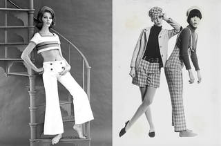 Left to right: 'Toms' trouser ensemble, Mary Quant. Photograph by John French, 1962 © Victoria and Albert Museum. Peggy Moffitt wearing 'Brands Hatch' dungarees, another model wearing 'Huntin' jacket and 'Humphrey' culottes, 1966. Image courtesy Mary Quant Archive / Victoria and Albert Museum, London