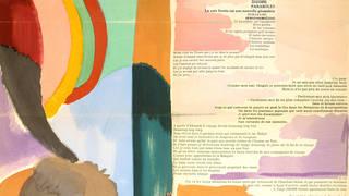 (Detail) La Prose du Transsibérien et de la petite Jehanne de France, by Sonia Delaunay & Blaise Cendrars, Paris: Editions des Hommes Nouveaux, 1913. Museum no. 38041993109149. © Pracusa 2013057