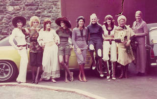 Models wearing Quant collections from 1971, including knickerbockers and laced boots, army style shorts and exaggerated harem trousers. Image courtesy of Linda Kirby