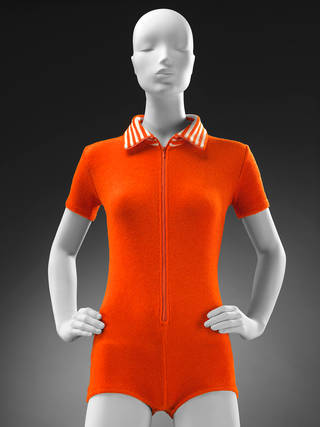 Orange playsuit in stretch terry towelling, Mary Quant, about 1967, UK. Museum no. T.96–2018. © Victoria and Albert Museum, London