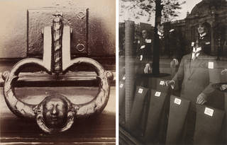 Left to right: Door Knocker, Eugène Atget, about 1900, France. Museum no. PH.2621-1905. © Victoria and Albert Museum, London. Men's Fashions, Eugène Atget, 1923 – 24, Museum no. CIRC.397-1974. © Victoria and Albert Museum, London