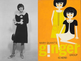 Left to right: Mary Quant wearing crochet dress, photograph by Shahrokh Hatami, 1964, Ernestine Carter Archive. Display board for Mary Quant's Ginger Group, about 1963, Mary Quant Archive