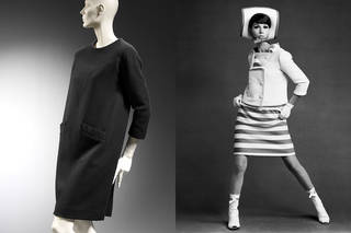 Left to right: 'Sack' dress, Cristóbal Balenciaga, 1957 – 58, France. Museum no. T.90-1973. © Victoria and Albert Museum, London. Simone d'Aillemont in dress and jacket by André Courrèges, 1965. Photograph by John French