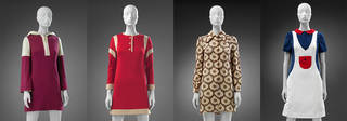 Left to right: Dress with hood, 1967, Mary Quant Archive. 'Footer' jersey dress, Mary Quant, 1967, Mary Quant Archive. 'Eclair' dress, Mary Quant's Ginger Group, 1969, UK. Museum no. T.90–2018. © Victoria and Albert Museum, London. Minidress with 'Peter Pan' collar, Mary Quant's Ginger Group, 1967, England. Museum no. T.61–2018. © Victoria and Albert Museum, London.