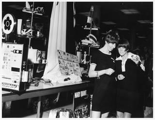 Joy Ingram, consultant supervisor and Mary Quant at one of the first make-up promotions at Rackham's department store, Birmingham, 1966. Image courtesy of Joy Debenham-Burton