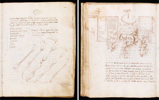 Left: Some of the potter's tools, in Li tre libri dell'arte del vasaio, by Cipriano Piccolpasso, about 1557, Castel Durante (now Urbania), 28 x 21.5 cm. Museum no. MSL/1861/7446, folio 14 recto. © Victoria and Albert Museum, London. Right: Craftsmen decorating pots, in Li tre libri dell'arte del vasaio, by Cipriano Piccolpasso, about 1557, Castel Durante (now Urbania), 28 x 21.5 cm. Museum no. MSL/1861/7446, folio 57 verso. © Victoria and Albert Museum, London