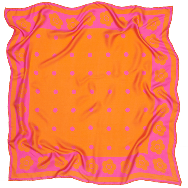 Mary Quant orange silk scarf