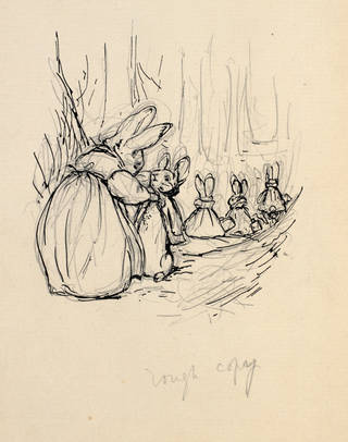 Sketch of Mrs Rabbit buttoning up Peter's coat, preliminary sketch for the privately printed edition of The Tale of Peter Rabbit, by Beatrix Potter, 1901, pen and ink over pencil. Museum no. BP. 583 (11) , Linder Bequest cat. no. LB 894. © Victoria and Albert Museum, London, courtesy Frederick Warne & Co Ltd.