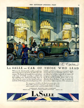 Colour advert for a car. Drawing of a green motorcar outside a grand building