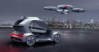 Silver flying car