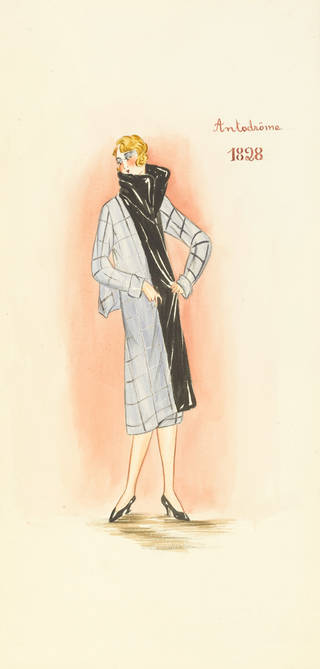 Watercolour of woman wearing grey long coat with a large black neck