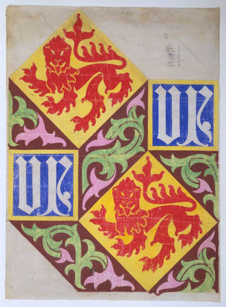 Photo of Wallpaper and tile design for Houses of Parliament, designed by A. W. Pugin, made 1908, London. Museum no. D.741-1908. © Victoria and Albert Museum, London