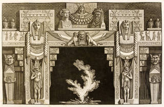 Photo of Print from 'Diverse maniere d'adornare i cammini…' depicting a design for an Egyptian chimneypiece by Giovanni Battista Piranesi, published 1769, Rome. Museum no. E.4944-1908. © Victoria and Albert Museum, London