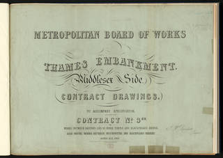 Photo of Contract drawings for the Metropolitan Board of Works depicting the Thames Embankment - Middlesex side, Joseph Bazalgette, 1868, Britain. Museum no. 23187. © Victoria and Albert Museum, London