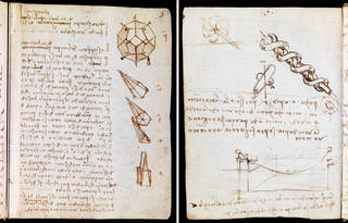 (Left) Codex Forster I (folio 7 recto) and (Right) Codex Forster I (folio 43 verso), Leonardo da Vinci, late 15th – early 16th century, Italy. Museum no. MSL/1876/Forster/141/I. © Victoria and Albert Museum, London