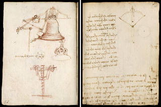 (Left) Codex Forster II (folio 10 verso) and (Right) Codex Forster II (folio 75 recto), Leonardo da Vinci, late 15th century, Italy. Museum no. MSL/1876/Forster/141/II. © Victoria and Albert Museum, London