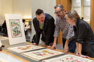 Artists David Allen Burns and Austin Young with Curator Catherine Flood researching the V&A's botanical drawings collection. © Victoria and Albert Museum, London